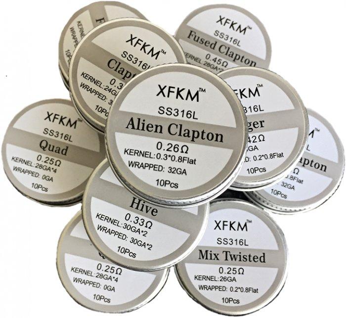 XFKM Alien Clapton SS316 předmotané spirálky 0,26ohm 10ks