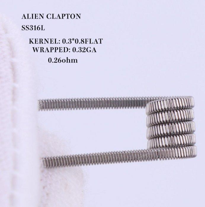 XFKM Alien Clapton SS316 előtekercselt spirálok 0,26ohm 10db