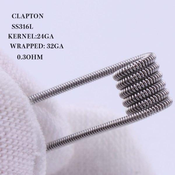 XFKM Clapton SS316 előtekercselt spirálok 0,3ohm 10db